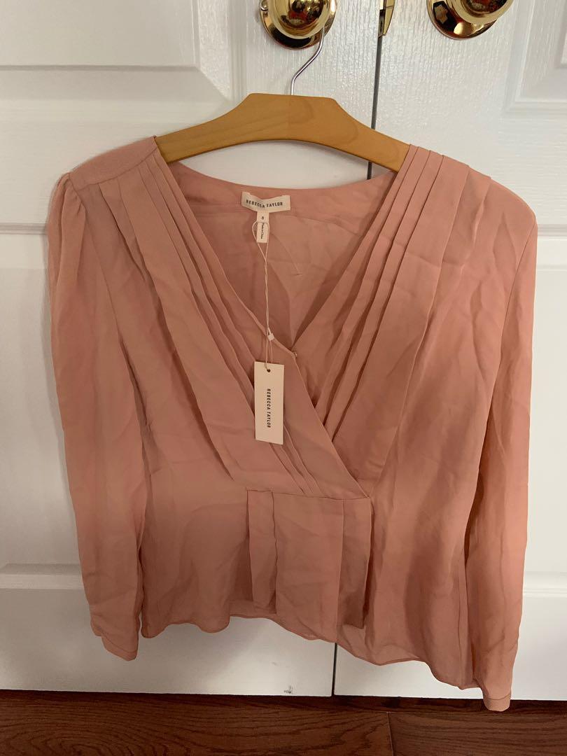 BNWT. Rebecca Taylor 100% silk long sleeve top. Size 8.