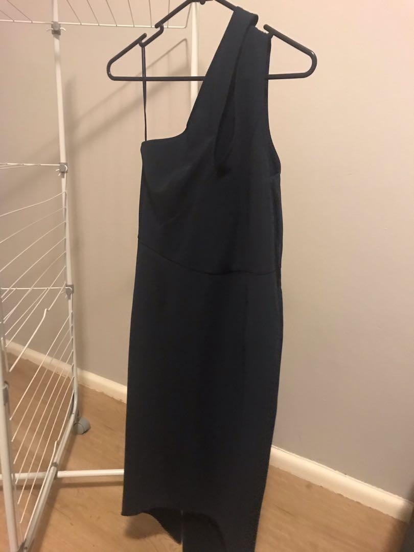 BRAND NEW with tags navy dress with cut out at front and slit at back