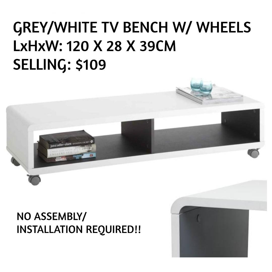 Picture of: Instock Tv Bench Console Table W Wheels Makespaceforlove Furniture Tables Chairs On Carousell