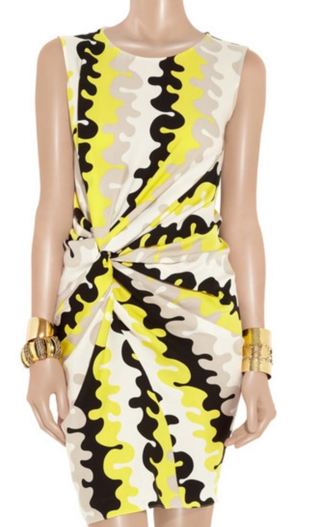 Diane von Furstenberg DVF Alastrina Wave Stretch Silk Designer Dress 4US AU8