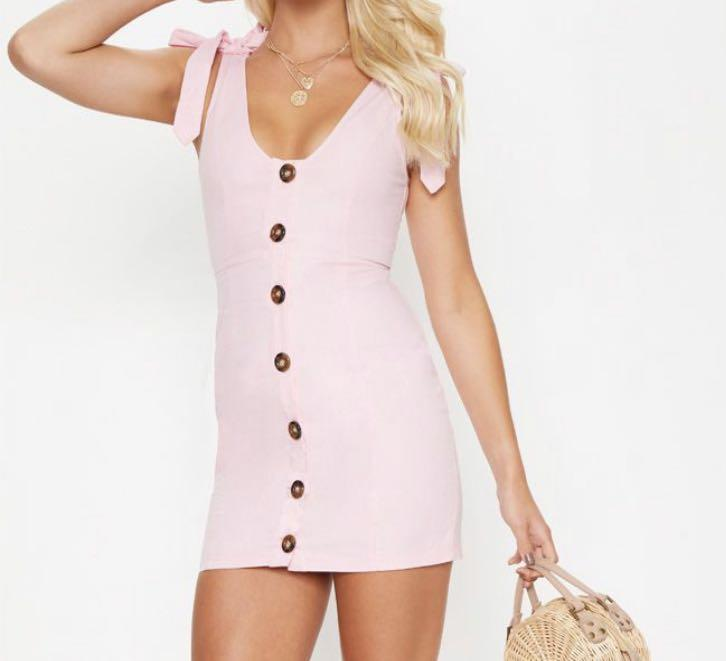 Dusty Pink Button Up Tie Strap Detail Bodycon Dress