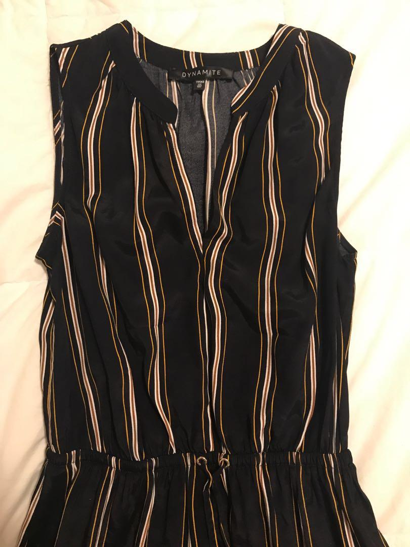 Dynamite Navy blue, gold, and white striped dress (extra small)