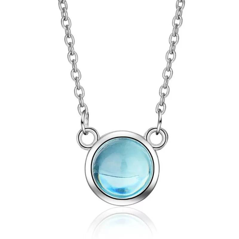 Flash Exquisite New Fashion Fresh Blue Crystal 925 Sterling Silver pendant Necklace