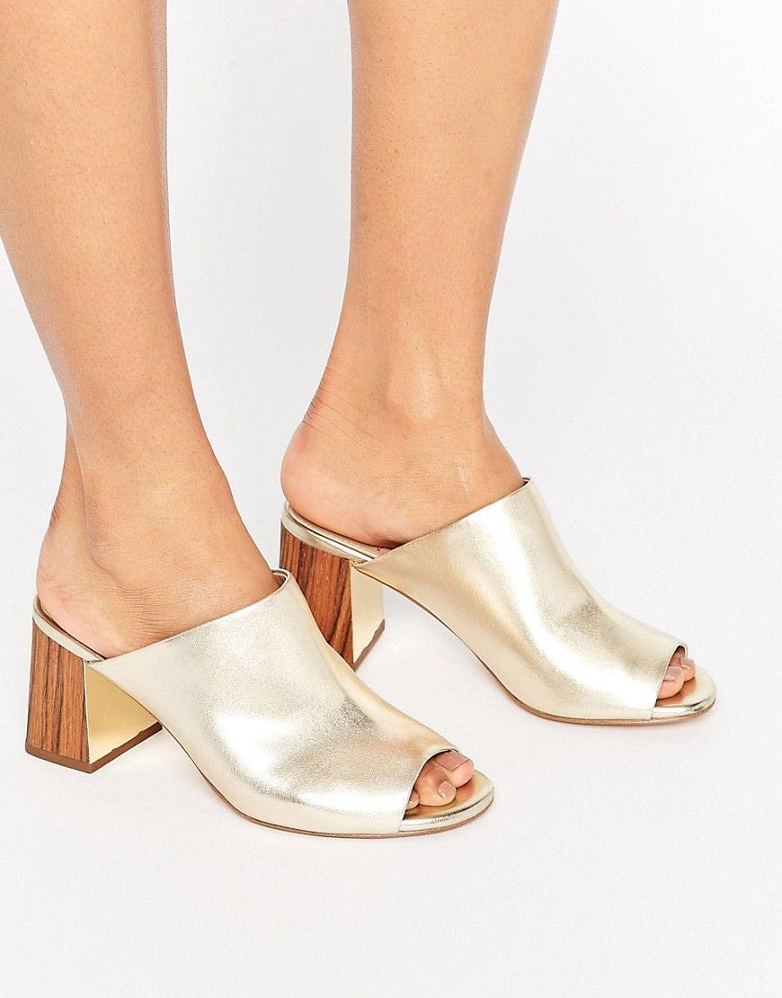 9a4535a64ea5 Golden Mule Sandals with Chunky Heel