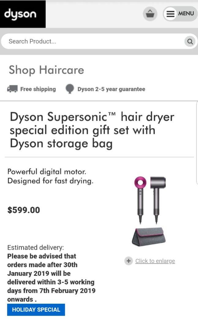 MOTHERS DAY SPECIAL! Dyson Hairdryer (Holiday edition) + 2