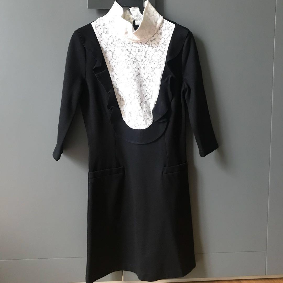 0947a056 iRoo Black and White Lace Tuxedo Dress, Women's Fashion, Clothes ...