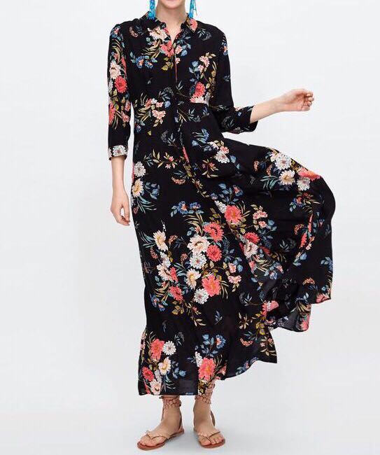 1a22297b77 Long floral printed dress from ZARA, Women's Fashion, Clothes ...