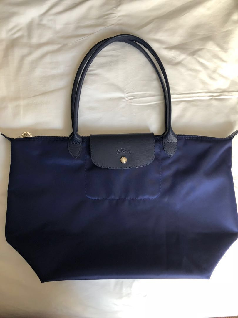 b8a2db4f63f Longchamp Le Pliage Neo Tote Bag Long Handle Large in Navy