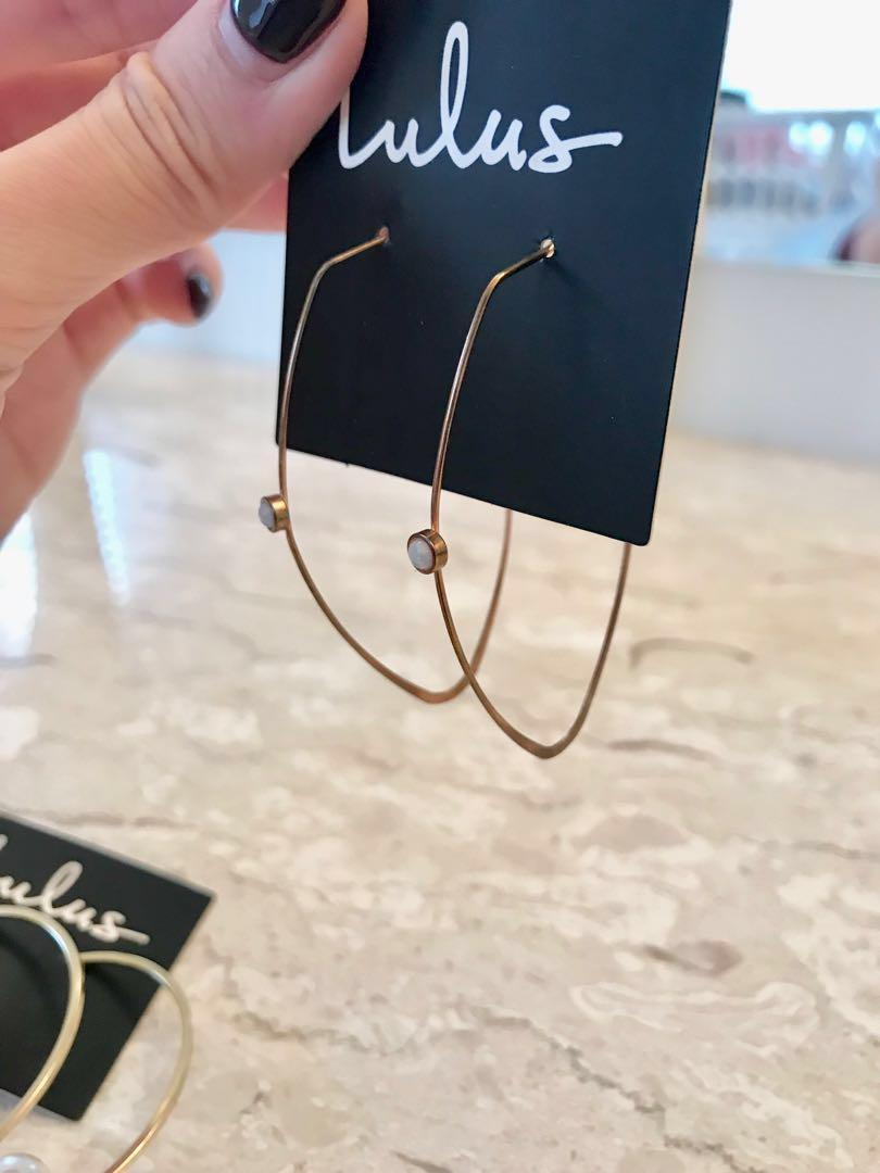 LULUS GOLD/ROSE GOLD/SILVER HOOPS AND STUD EARRING SET