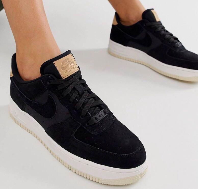 Nike Air Force 1 Black Suede, Women's