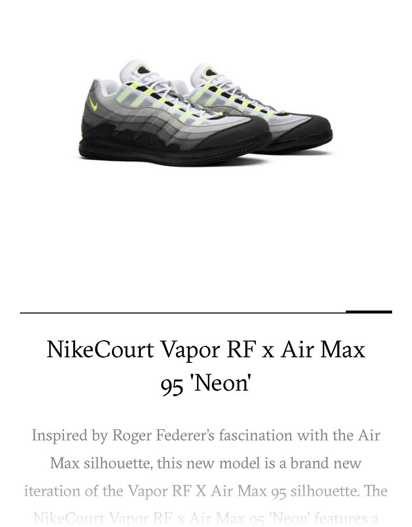 8109b39ddd Nikecourt Vapor RF x Air Max 95 Neon, Men's Fashion, Footwear, Sneakers on  Carousell