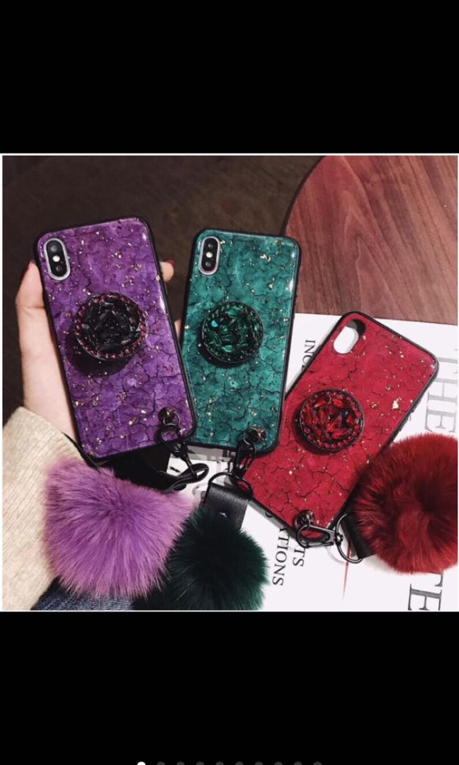Po Iphone Shiny Popsocket Tassel Furball Phone Case Cover Mobile Phones Tablets Mobile Tablet Accessories Cases Sleeves On Carousell