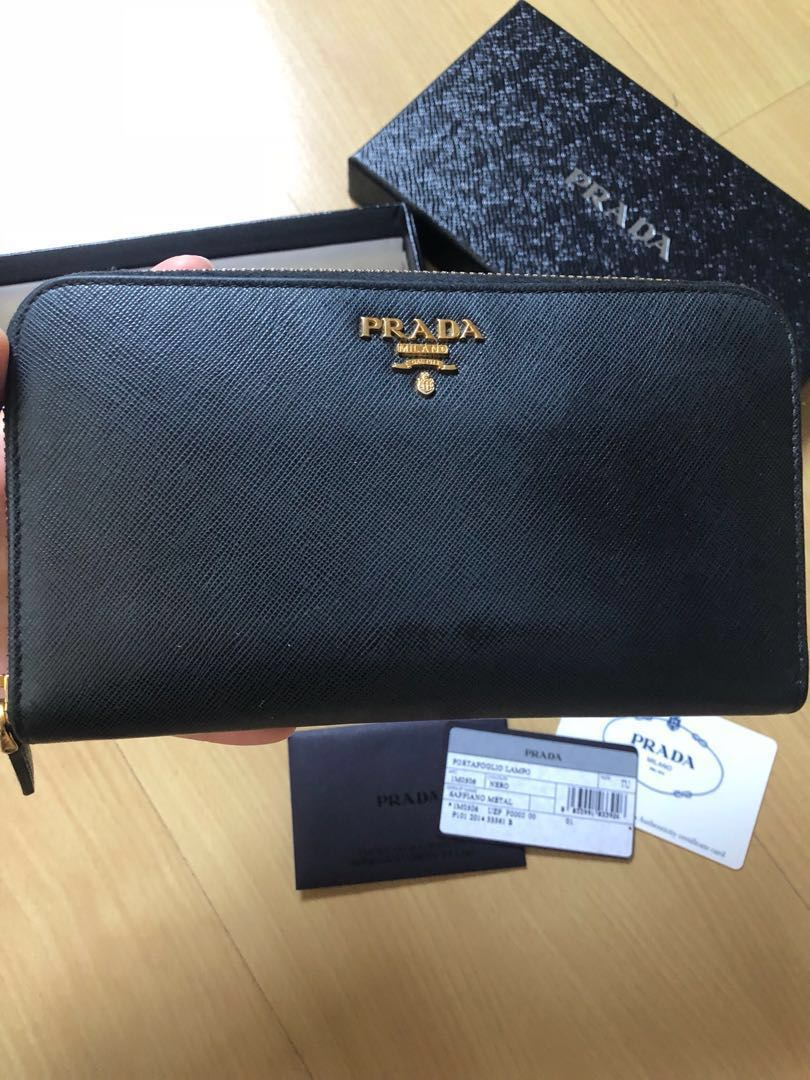 d2facb938545c7 Prada Saffiano Zip around Wallet black, Luxury, Bags & Wallets ...