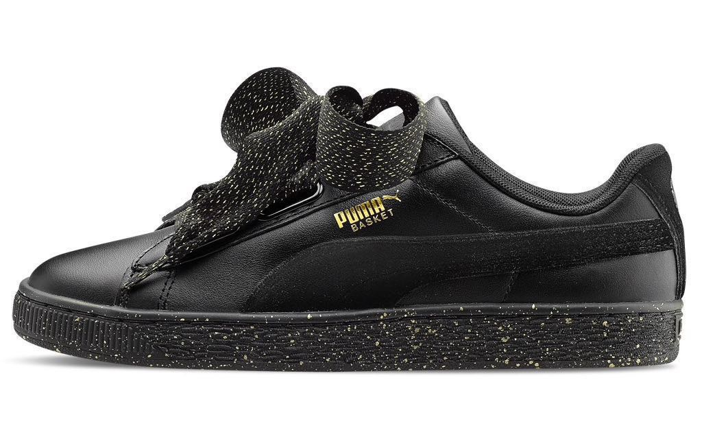 3e89bb74def6 Puma Basket Heart Black Gold