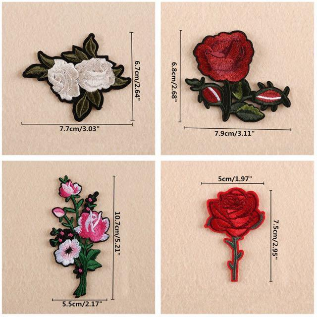 Rose/Floral Embroidery Patches