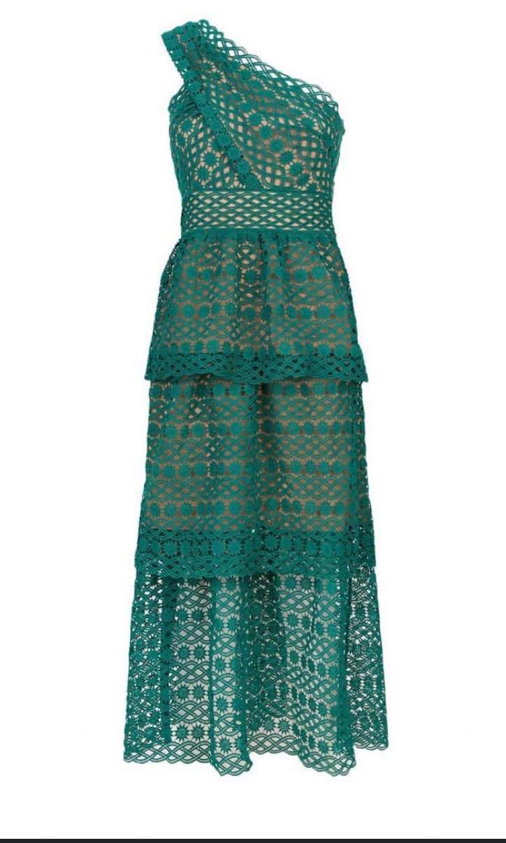 1091cd77c5be SELF-PORTRAIT Floral Lace One-Shoulder Green Dress, Women's Fashion ...