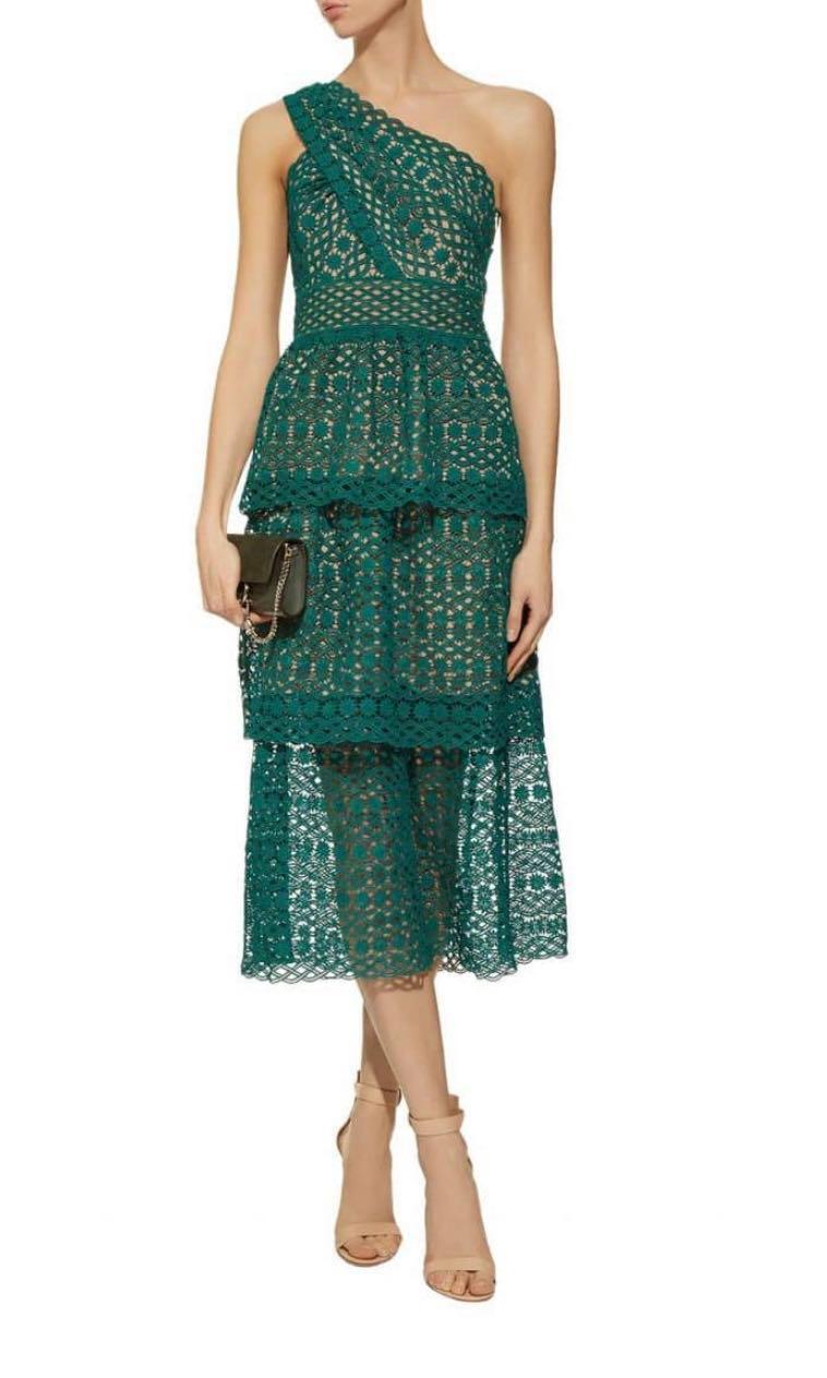 a74950045bb50 SELF-PORTRAIT Floral Lace One-Shoulder Green Dress, Women's Fashion ...