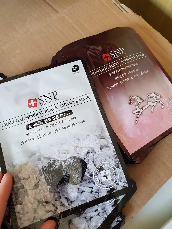 SNP Face Mask Charcoal Mineral Black & Prestige Mayu ampoule mask