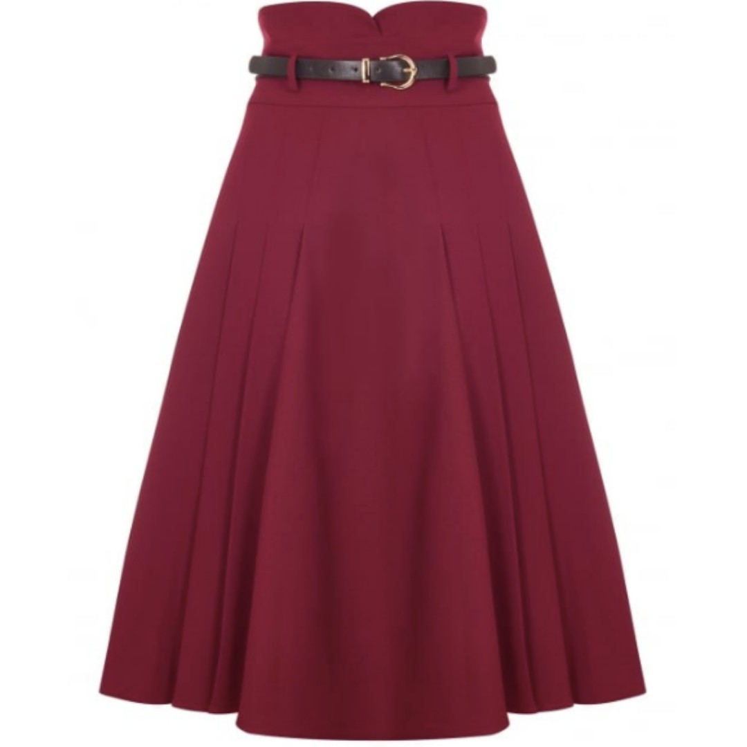 90cbc18d9a BNWT high-waisted maroon midi skirt (Brand: Collectif Vintage ...
