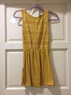 Mustard Broderie Anglaise Dress