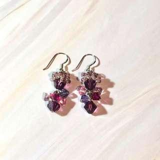 Crystal Earrings gorgeous purple ballet 水晶 耳環