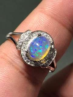🚚 Crystal Opal 925 silver ring
