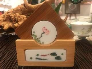 Bamboo coaster with porcelain base set