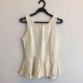BN White Knit Peplum Top