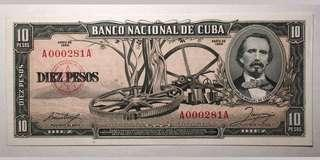 🚚 1956 Banco Havana 10 Pesos Banknote