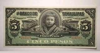 🚚 1914 Mexico 5 Pesos Banknote