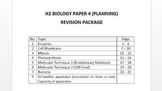 H2 Biology Paper 4 Planning Notes
