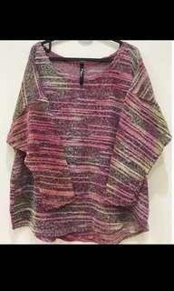 🚚 蝙蝠袖彩色漸層細針織罩衫