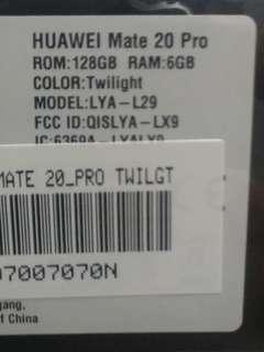 New Sealed Huawei Mate 20 Pro Twilight 128GB