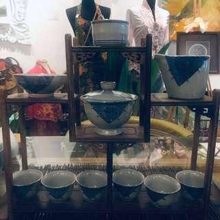 Oriental tea set with display piece
