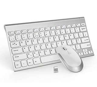 Jelly Comb Wireless Rechargeable Keyboard Mouse Combo QWERTY UK Layout, Ultra Slim, Whisper-Quiet