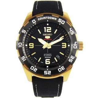 🚚 BNIB Seiko 5 Sports Automatic Japan Made SRPB86 SRPB86J1 SRPB86J Black Dial leather strap Men's Watch