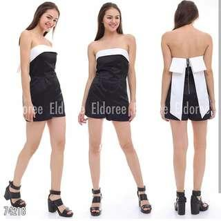 Jumpsuit import belakang zipper dan pita
