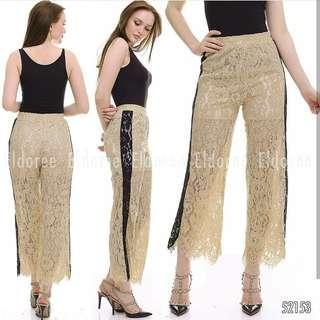 Celana kulot wanita import bahan brukat