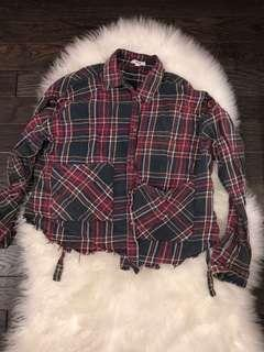 Distressed flannel shirt- cropped