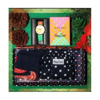 Happy Socks Limited Edition Christmas 2018 Gift Set - Watch, Boxer, Socks