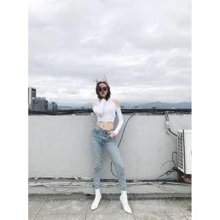 Bowwow korea  雀斑 高腰不規則直筒牛仔褲 M號