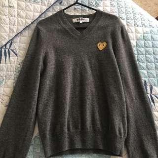 Comme Des Garçons Play womens grey v-neck knitted jumper
