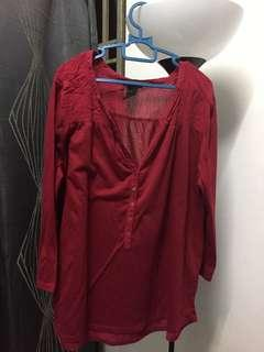 H&M Top red blouse tshirt 3/4 sleeve loose