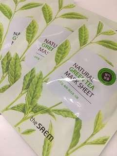 The Saem Natural Green tea mask sheet beli 10 gratis 1