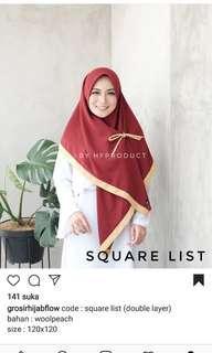 Jilbab square list woolpeach (dark grey, navy list pink)