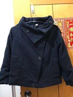 深藍色 厚外套 韓國款式