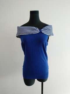 Review retro blue off shoulder top sz 12