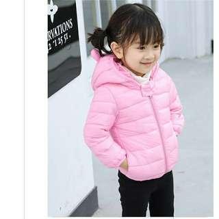寶寶嬰兒女童熊耳朵輕羽絨秋冬保暖外套