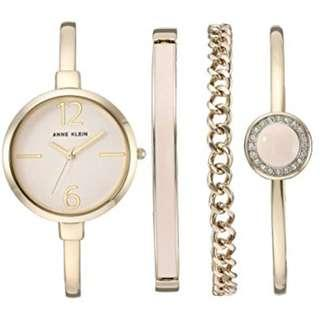 🚚 Anne Klein AK/3290 Women's Bangle Watch and Swarovski Crystal Accented Bracelet Set