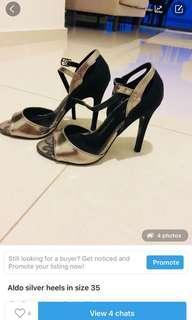 Aldo silver and black heels